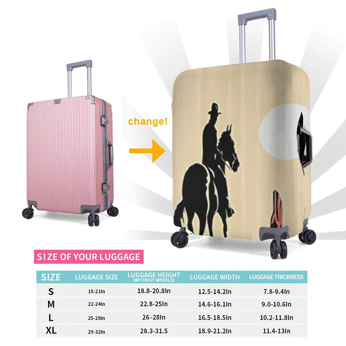 JHNDKJS Flat Wild West3 Travel Luggage Cover Baggage Suitcase Protector Fit for 12-18 Inch Luggage