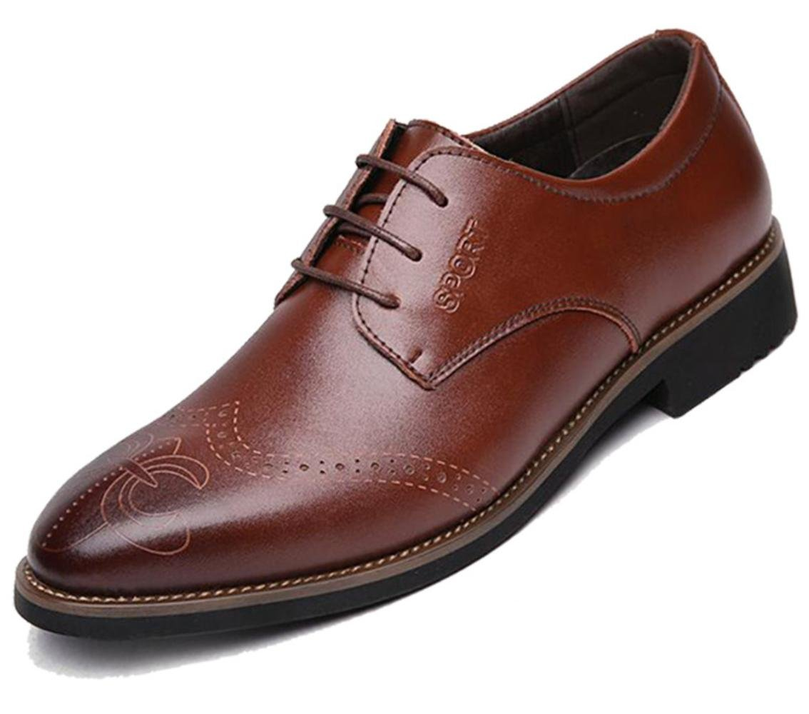 CSDM Men's Cowhide Shoes Breathable Business Casual Genuine Leather Wedding Shoes Large Size , brown , 44