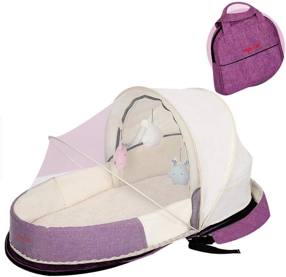 ポータブルベビーベッドリクライニング新生児ポータブルベビーベッド用ポータブルベビーベッド寝室旅行キャンプ用の通気性と低刺激性の巣-With_mosquito_nets_Purple