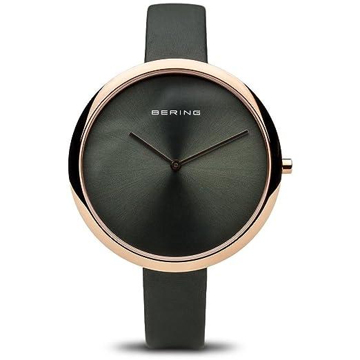 BERING Reloj Analógico para Mujer de Cuarzo con Correa en Cuero 12240-667: Amazon.es: Relojes