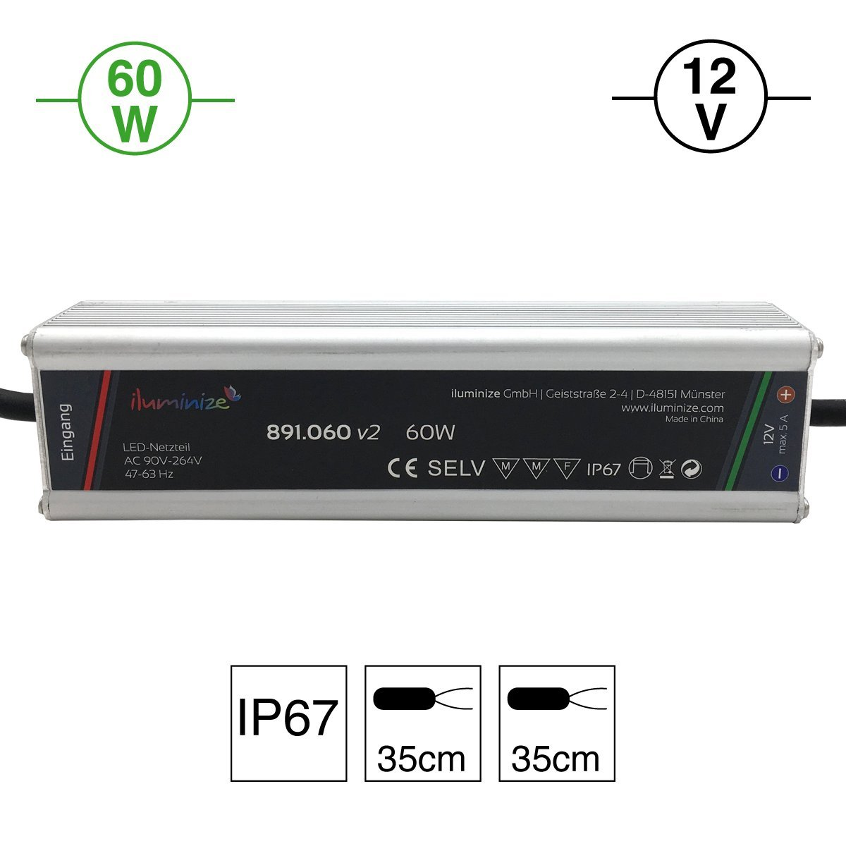 60W IP67 iluminize LED-Netzteil: hochwertiges /& leistungsstarkes LED-Netzteil Aluminium 12V laststabil Anschlusskabel 35cm ohne Stecker 12V 60W
