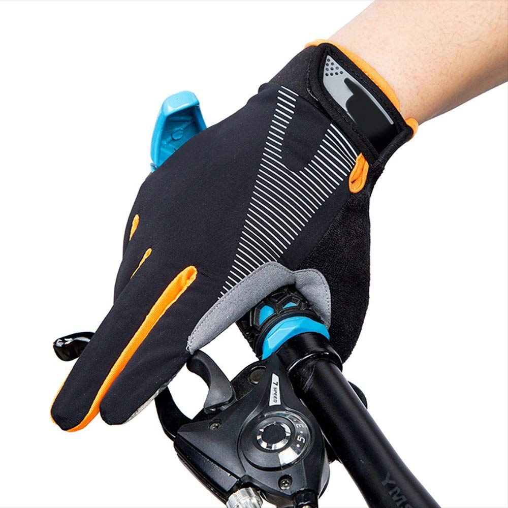 AsDlg Full Finger Sport Riding Summer Gloves, Touchscreen Biking Cycling Gloves Breathable Anti-Slip Gloves for Mountain Road Bicycle for Men Women Ladies (Color : Orange, Size : S) by AsDlg