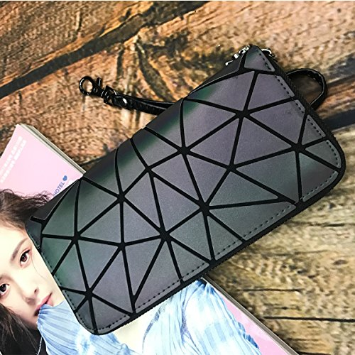 Totes Geometric zipper Purses with Handbags Leather Purses Lattice Bag Wallet Luminous Aisunne Shard BZwYY