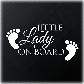 Little lady on board sticker baby feet funny car window bumper vinyl decal