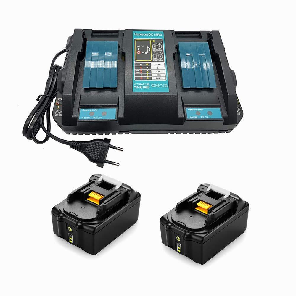 Batteries Makita de remplacement 18v 14,4-18V pour Makita BL1830 BL1840 BL1850B BL1815 2 Batteries 18V 4Ah + 1 Chargeur Double DC18RD Remplacement
