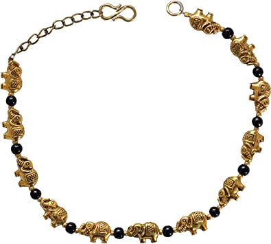 Sansar India Oxidized Elephant Beads Indian Anklet Jewelry for Girls and Women