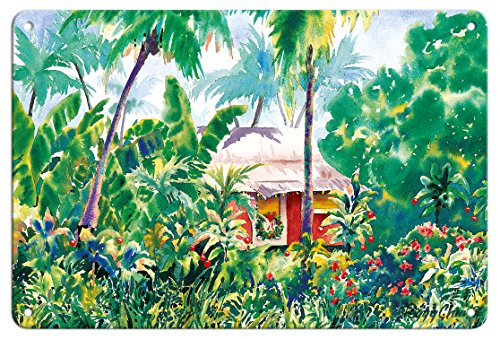 Pacifica Island Art 8in x 12in Vintage Tin Sign - Holiday Hale (House) - Hawaiian Jungle Shack at Christmas Time by Peggy Chun