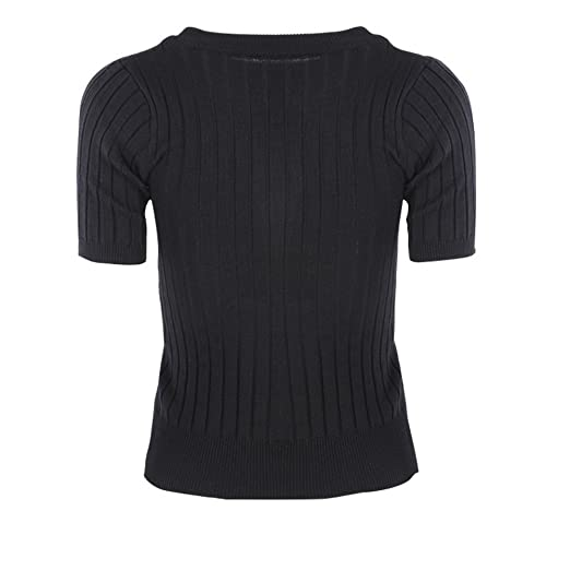SUNSENT Women s Mock Neck Short Sleeve Bodycon Knit Pullover Sweater Black d94664a31