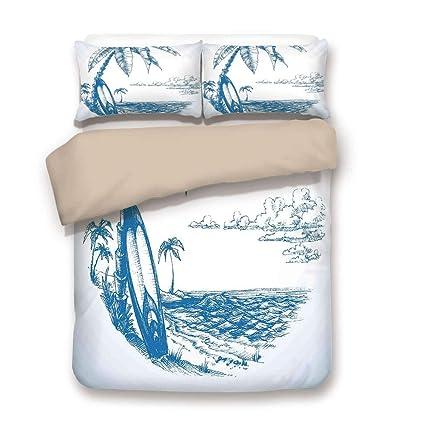 Juego de funda nórdica, decoración de surf, ilustración de croquis ...