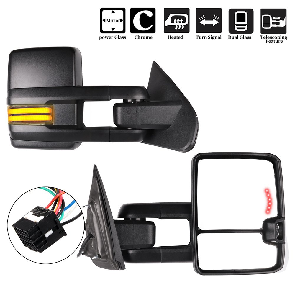 ECCPP Towing Mirrors, A Pair of Exterior Automotive Mirrors for 2014-2018 Chevy Silverado GMC Sierra with Running Lights Reversing Light Power Operation Heated Arrow Signal Black Housing by ECCPP