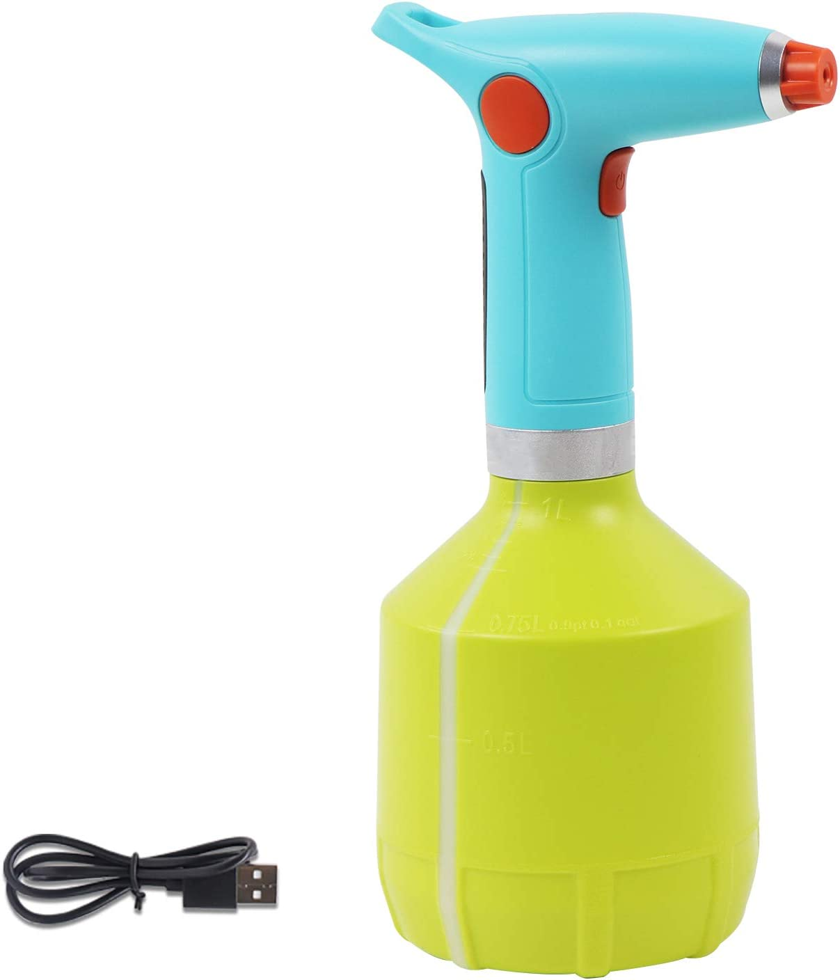 scimaker Electric Plant Mister Sprayer Bottle, Watering Can with Adjustable Nozzle, 34 Ounce Handheld Spritzer for Garden, House Flower, Cleaning (Green)