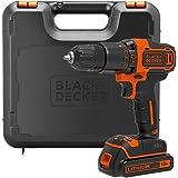 BLACK+DECKER BDCHD18K - Taladro percutor 18V, incluye batería de litio 1.5Ah y maletín