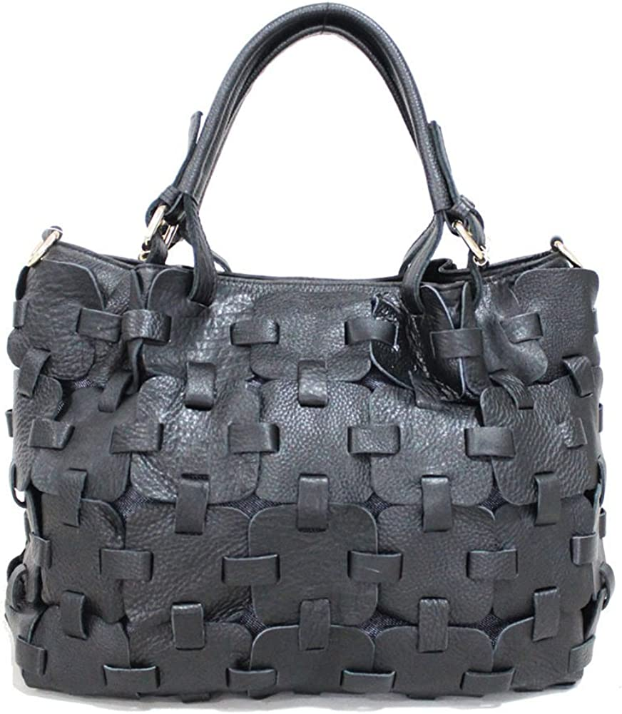 Womens Genuine Cowhide Leather Puzzles Knits Pattern Tote Handbag
