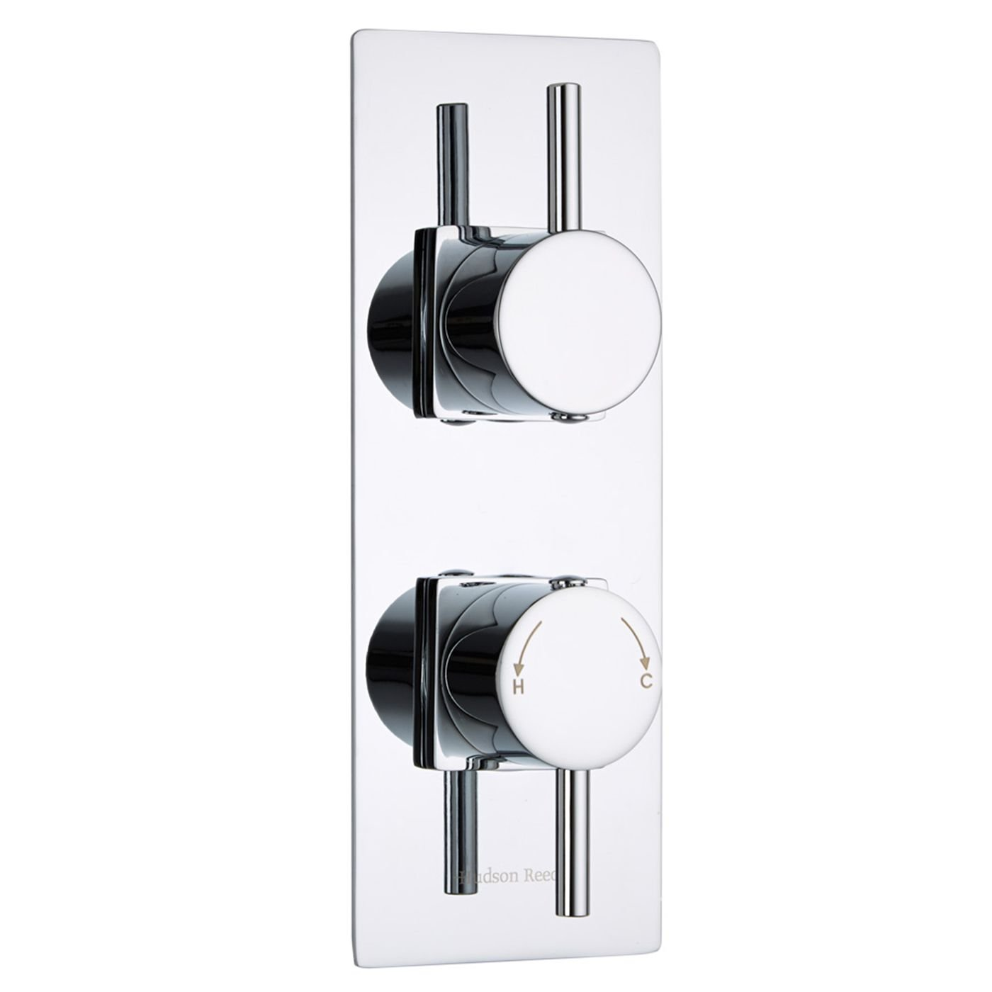 Hudson Reed - Quest Thermostatic Twin Shower Faucet Diverter Valve in Chrome Plated - 2 Outlet Thermostat - Concealed Style - Slim Trim Kit & Round Lever Controls - Modern Design