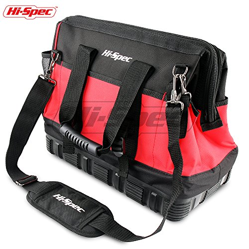 (Hi-Spec Heavy Duty Wide Mouth Tool Bag with Waterproof Ultra-Rigid Molded Base, Rubber Handles,600D Reinforced Material for Home DIY & Professional Use)