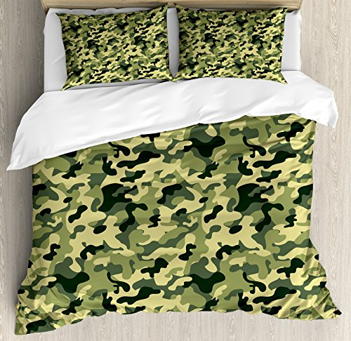 - Ambesonne Camouflage Duvet Cover Set King Size, Clothing Motif with Pale Toned Color Splashes Abstract Patterned Illustration, Decorative 3 Piece Bedding Set with 2 Pillow Shams, Green Yellow