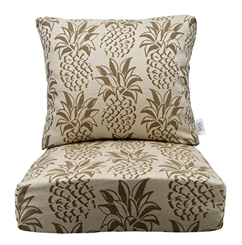 """RSH Décor Indoor/Outdoor Woven Pineapple Cushion Sets for Patio Deep Seating for Chair/Sofa/Couch in Taupe & Beige - Choice of Size (25"""" x 25"""" Bottom Cushion)"""