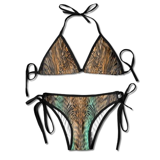 Amazon.com: aleisin piel de leopardo Bikini mujer bañadores ...