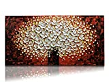 Desihum-Flowers Wall Art On Canvas Abstract Oil Paintings Large Home Decor Abstract Artwork Stretched And Framed Long Square Modern Picture (20''x40'')