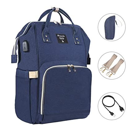 61369c12b7529 Multifunction Nappy Changing Bag Large Capacity Travel Baby Changing  Rucksack (Navy Blue 1)  Amazon.co.uk  Baby