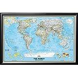 Amazon push pin map national geographic world map with push push pin map national geographic classic world map in premium matte black frame gumiabroncs Images