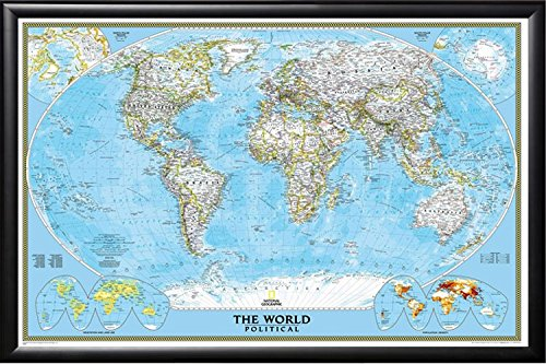 Poster Art House Push Pin Map National Geographic Classic World Map in Premium Matte Black Frame