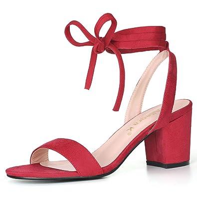 37b74e684 Allegra K Women s Open Toe Mid Block Heel Ankle Tie Red Sandals - 5 ...