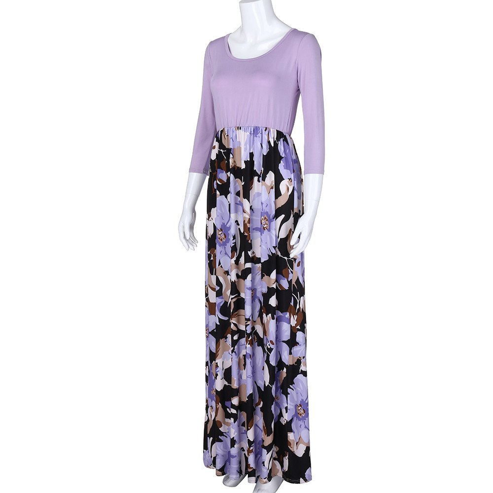 Hunzed Women【Sleeveless Print Skirt】 Women Summer Floral Print with Pockets Maxi Beach Long Dress