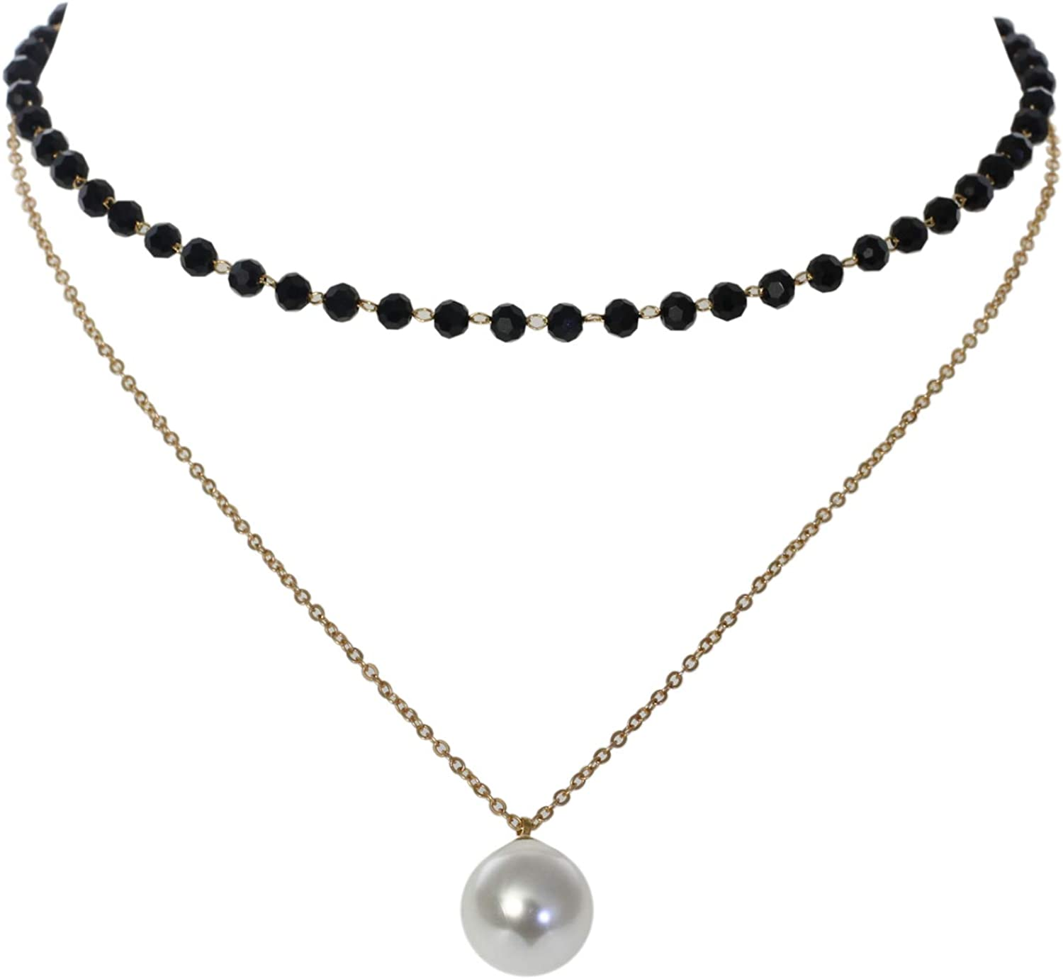 White Pearlized Beads and Crystal Spacers Choker