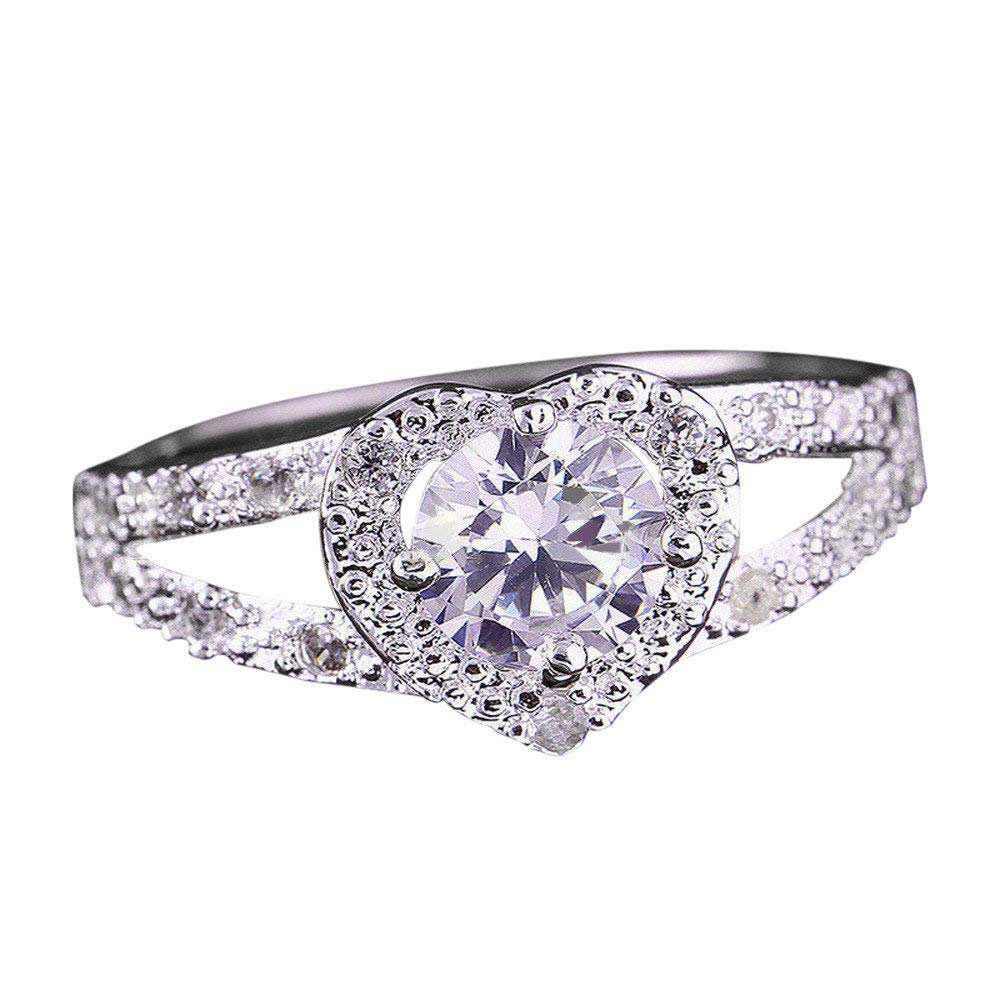 Toponly Heart-Shaped Love Engagement Ring for Women Crystal Silver Cubic Zirconia Band Ring Jewelry Gift
