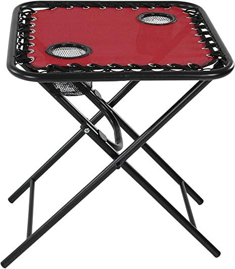 Amazon Com Sunnydaze Folding Camping Side Table With Mesh Drink Holders Outdoor Patio Or Portable Beach Accessory Red Sunnydaze Decor Kitchen Dining