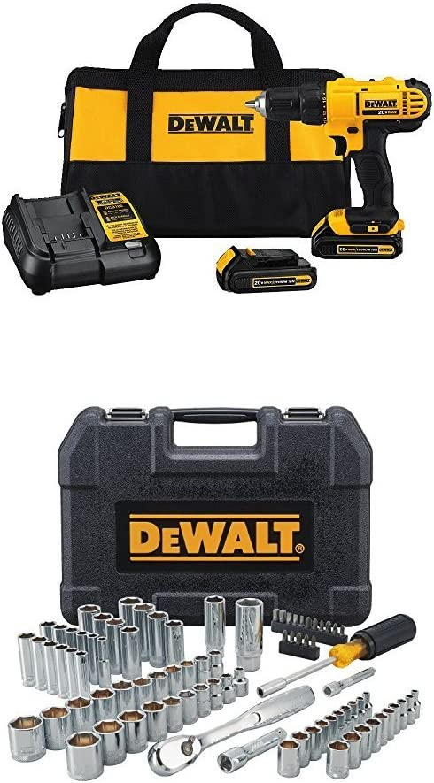 DEWALT 20V MAX Cordless Drill / Driver Kit, 1/2-Inch with Mechanics Tool Set, 84-Piece (DCD771C2 & DWMT81531): Home Improvement