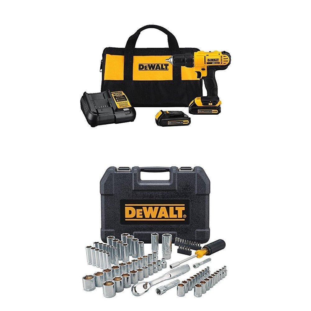 Dewalt DCD771C2 20V MAX Cordless Lithium-Ion 1/2 inch Compact Drill Driver Kit and DWMT81531 84Pc Mechanics Tool Set