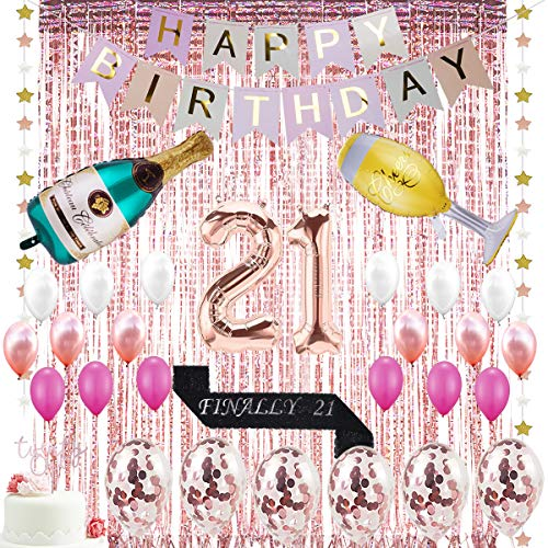 21st Birthday Decorations| 21 Birthday Party Supplies | 21 Cake Topper Rose Gold | Finally 21 Sash|Rose Gold Confetti Balloons for her| Foil Fringe Curtains for Finally Legal 21st Birthday Party