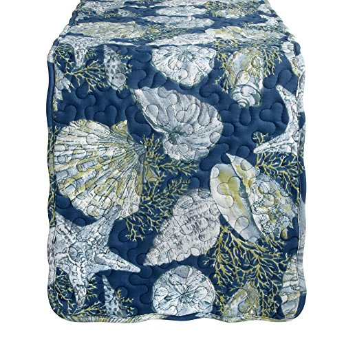 Nantucket Home Coastal Seashells and Stripes Reversible Quilted Table Runner, 72-Inch x 13-Inch