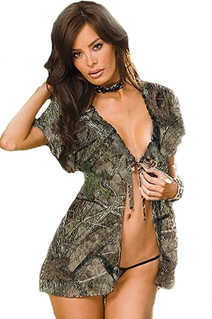 278e5faec3 Amazon.com  Sexy Country Girl Hunter s Camouflage Baby Doll and G String  Lingerie Outfit In Huntress Camo Set  Clothing