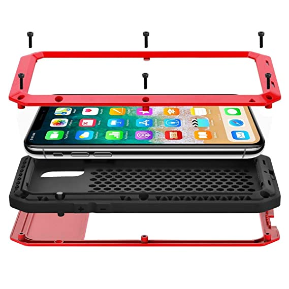 online store 1ada4 49a9d iPhone X Case, iPhone 10 Case, CarterLily Full Body Shockproof Dustproof  Waterproof Aluminum Alloy Metal Gorilla Glass Cover Case for Apple iPhone X  ...