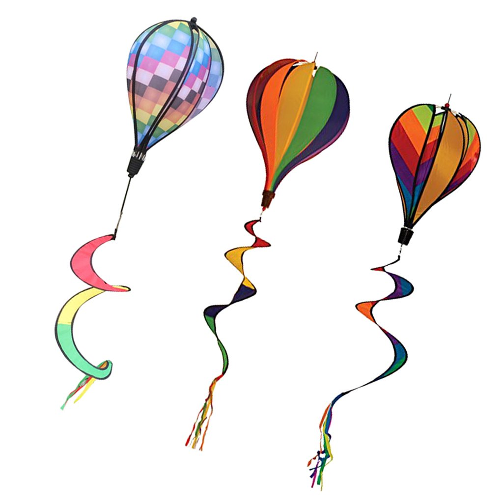 Dovewill 3Pcs Hot Air Balloons Windsocks Spiral Windmills Garden Lanw Outdoor Patio Decor Whirligig Toy 55 '' 6-Panel