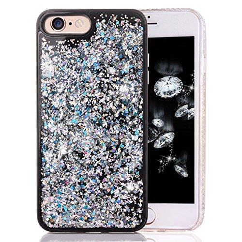 iPhone 6 Plus Case, iPhone 6s Plus Soft Bumper Case, Crazy Panda New Cool Luxury 3D Creative Liquid Dynamic Glitter Sparkle Case for iPhone 6 Plus 6s Plus - Silver Diamond Crazy Panda