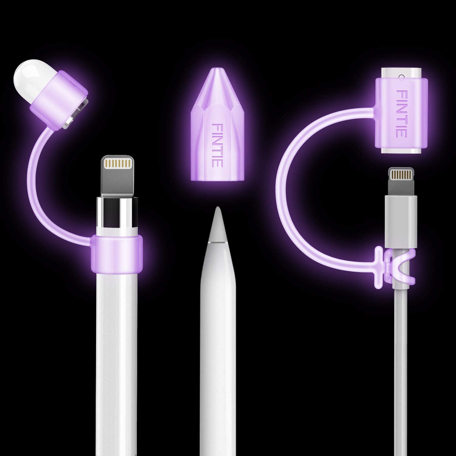 Fintie 3 Pieces Bundle for Apple Pencil Cap Holder, Nib Cover, Adapter Tether for Apple Pencil 1st Generation, iPad 10.2, iPad 9.7, iPad Air 3rd Gen/iPad Pro 10.5, iPad Mini 5 Pencil, Purple Glow