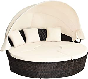 Tangkula Patio Round Daybed with Retractable Canopy, Outdoor Wicker Rattan Furniture Sets, Sectional Sofa Set w/Height Adjustable Coffee Table, Rattan Conversation Sets (Beige)