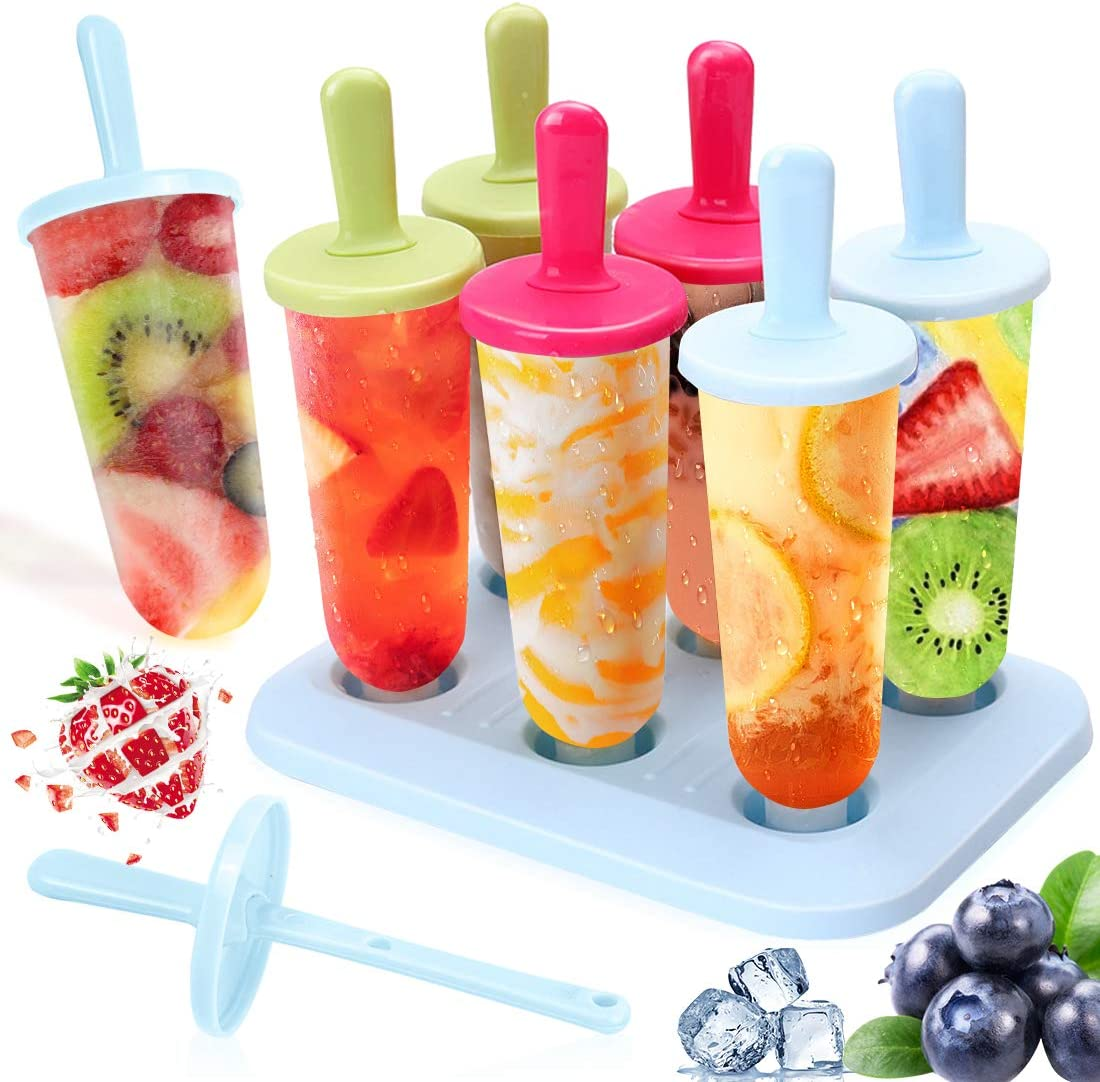 Ice Lolly Moulds Icnow 15 Pack Molds Set 9 Ice Lolly Makers 6 Pack Silicone Ice Lolly Pop Ice Cream Moulds LFGB Certified BPA Free for Kids,Toddlers and Adults with Cleaning Brush.
