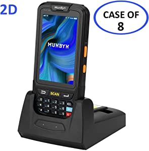 Case of 8 Packs, MUNBYN Handheld Barcode Scanner with Android 7, 2D PDF417 Honeywell Scanner, Numeric keypad, Touch Screen and Charging Cradle with 3G 4G WiFi BT GPS Wireless Mobile Terminal for WMS