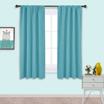 NICETOWN Kitchen Blackout Curtains Panels   Window Treatment Thermal  Insulated Solid Room Darkening Rod Pocket Drapes