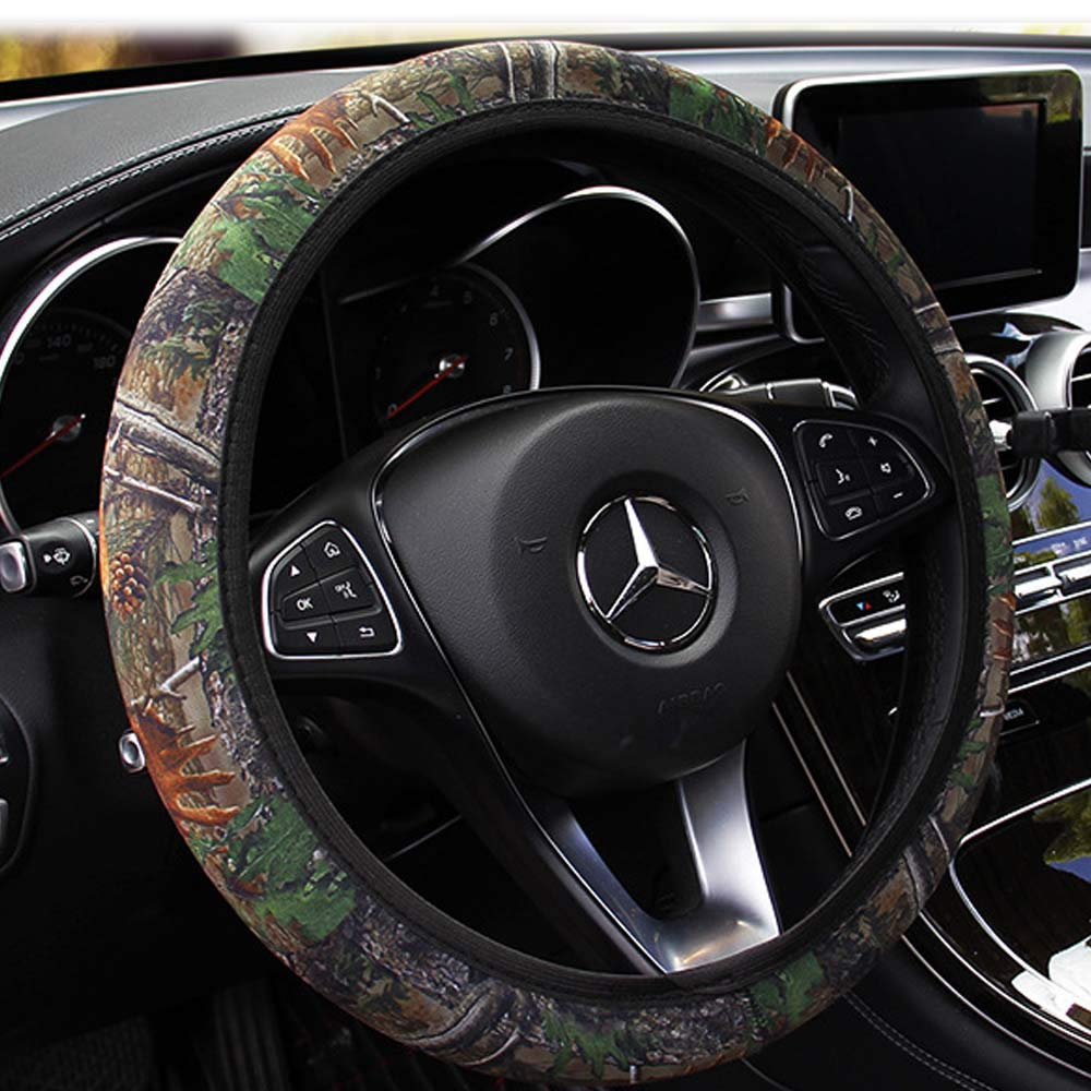 Rayauto Standard 15' 38cm Stretchy Camo Neoprene Car Steering Wheel Cover Against Cold Heat (Grey Pattern)