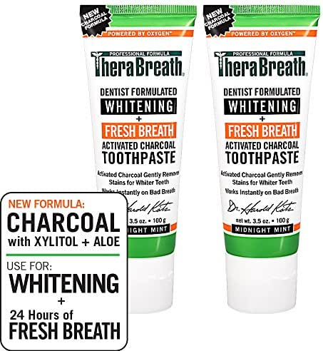 TheraBreath Whitening + Fresh Breath Charcoal Toothpaste, Midnight Mint Flavor, 3.5 Ounce Tube (Pack of 2)