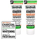 TheraBreath – Whitening + Fresh Breath Charcoal Toothpaste – Made in the USA – Whitens Teeth – Stops Bad Breath – No Artificial Flavors or Detergents – Midnight Mint Flavor – 4-oz. Tubes – Two-Pack