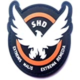 aquiver Juego Parches de Goma La División SHD alas Out Badge moral PVC Airsoft Patch, Negro, blanco, 9 cm