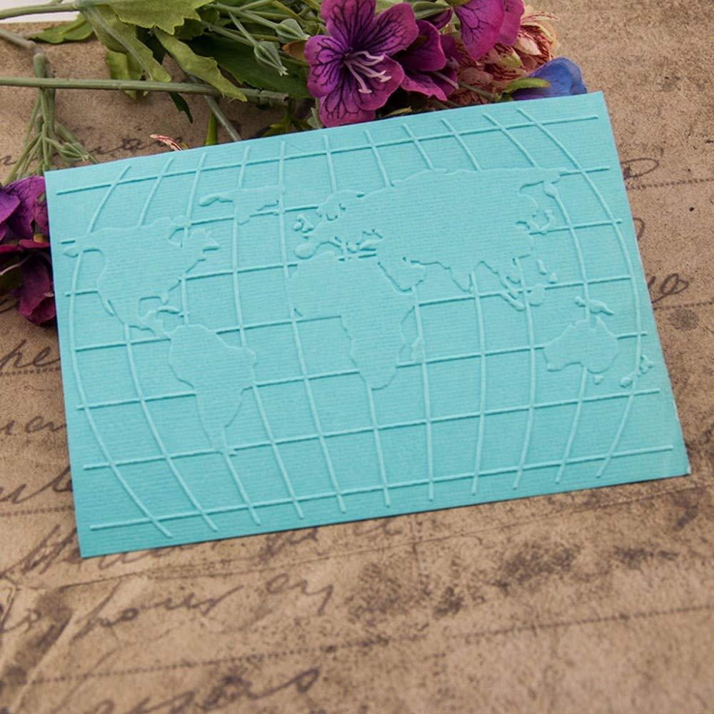 Cisco72 Decorative Tools Plastic Embossing Folder Template Scrapbook Photo Album Card Making Decoration Craft World Map
