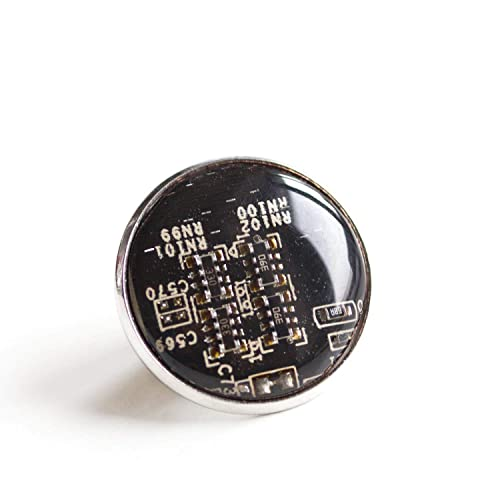 Black//dark brown recycled circuit board pin 18mm